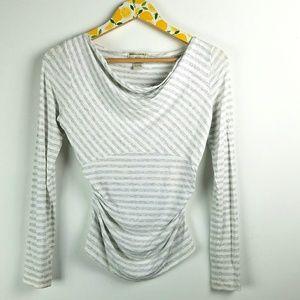 Banana Republic White Gray Striped Shirt Sz S